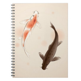 Yin Yang Koi fishes in oriental style painting Notebook