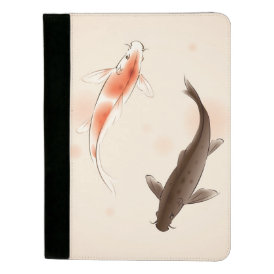 Yin Yang Koi fishes in oriental style painting Padfolio
