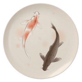 Yin Yang Koi fishes in oriental style painting Plate