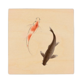 Yin Yang Koi fishes in oriental style painting Wooden Coaster