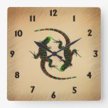 Yin Yang Lizards Square Wall Clock
