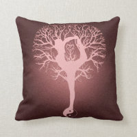 Yin yang, tree of life, yoga, harmony by Amelia Throw Pillow
