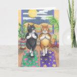Yoga Cats Birthday Bud & Tony Notecard