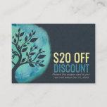 YOGA Discount Coupon Loyalty Watercolor Teal Tree