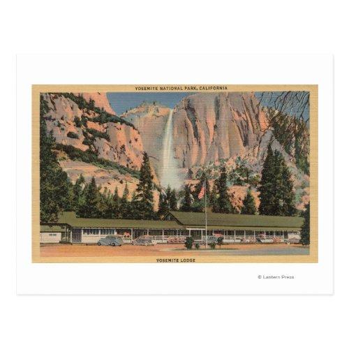 Yosemite, CA view of Yosemite Lodge and Falls Postcard
