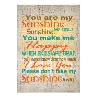 You are my Sunshine Orange/Teal/Cream Invite