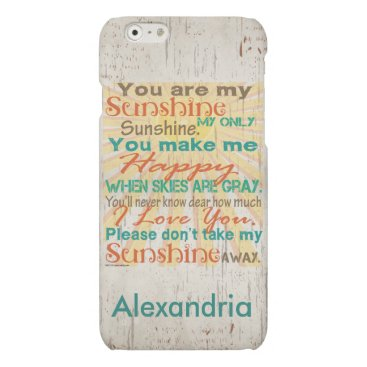You are my Sunshine Orange/Teal/Cream Personalized Matte iPhone 6 Case