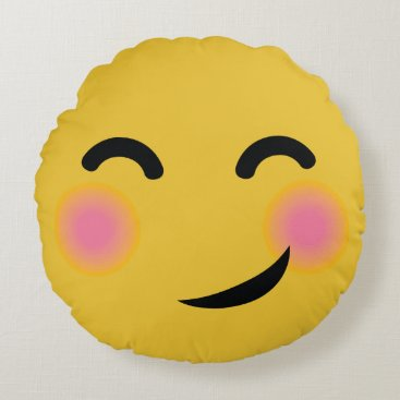 you got me blushing emoji round pillow
