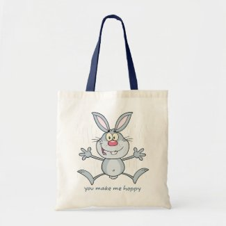 You Make Me Hoppy Bunny Rabbit Budget Tote Bag