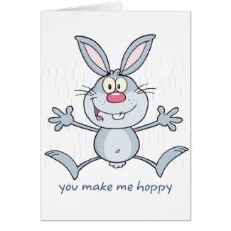 You Make Me Hoppy Bunny Rabbit Card