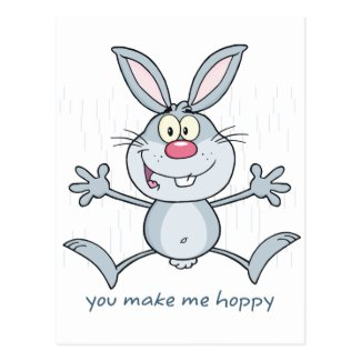 You Make Me Hoppy Bunny Rabbit Postcard