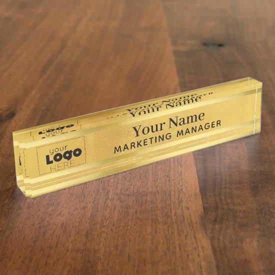 Your Custom Logo on Brass Gold Desktop Name Plate