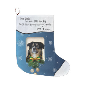 YOUR DOG'S PHOTO Blue Snowflake I've Been Good Large Christmas Stocking