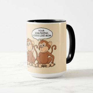 Your Girlfriend Looks Like Mom Funny Monkey Large Mug