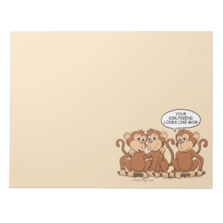Your Girlfriend Looks Like Mom Funny Monkey Large Notepad