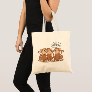Your Girlfriend Looks Like Mom Funny Monkey Tote Bag