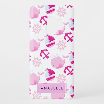 Your Name - Whale Pattern, Sailor Whales - Pink Case-Mate Samsung Galaxy S9 Case
