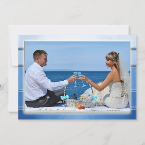 Your Photo Blue Striped Wedding Thank You Card