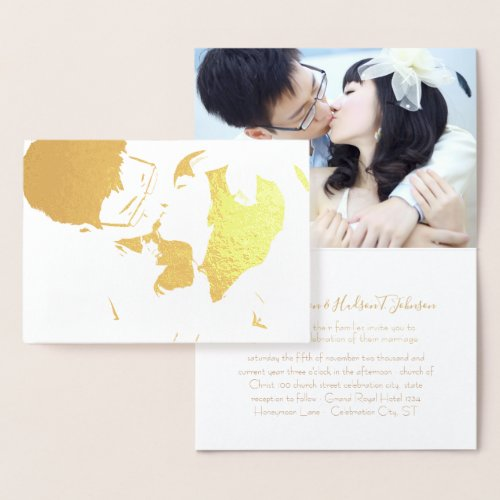 Your Photo in Real Gold Foil Wedding Invitations