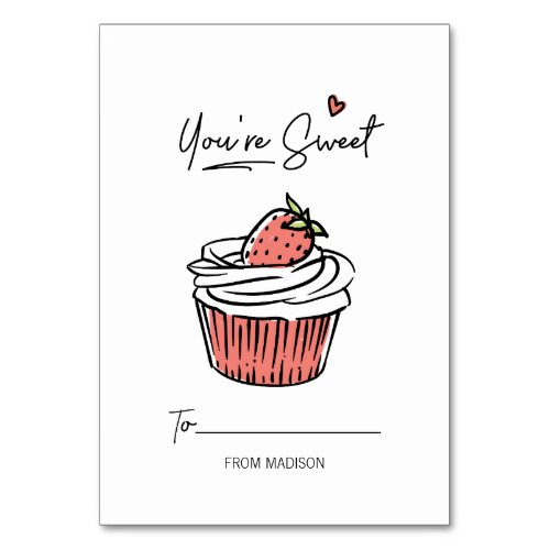 You're Sweet Cupcake Kids Classroom Valentine Card