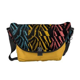 Zebra Print Metal Textured Pop Messenger Bag
