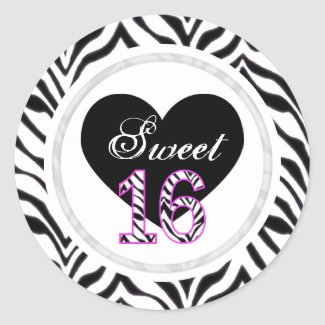 Zebra Sweet 16 Stickers