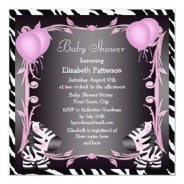 Zebras & Magic Wand Pink Princess Baby Shower Card