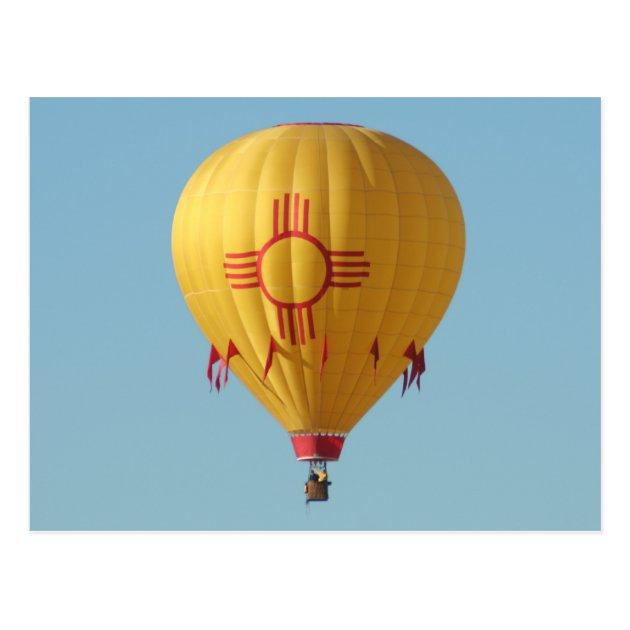 Zia Sun Symbol Hot Air Balloon Postcard