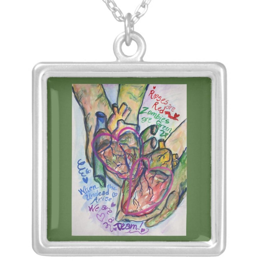 Zombie Love Poem Necklace Pendant Jewelry