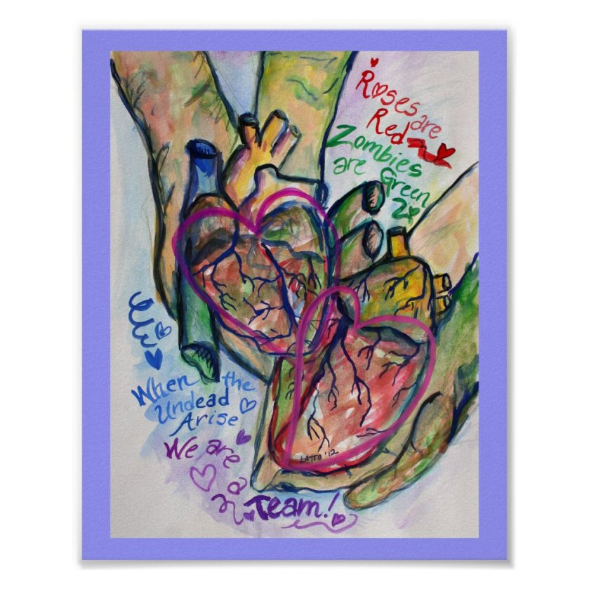 Zombie Love Poem Painting Art Print Posters