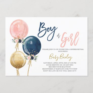 Zoom virtual Gender reveal party Invitation
