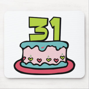 31 Jahre Alles Gute Zum Geburtstag Karte Mit Kuchen Und Kerzen