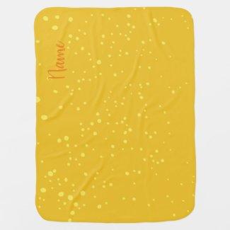 Fröhliches gelbes Punktemuster, personalisierbar. Babydecke
