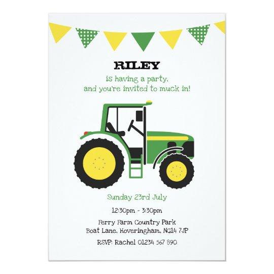 Grünes Traktor Geburtstags Party Laden Ein Einladung
