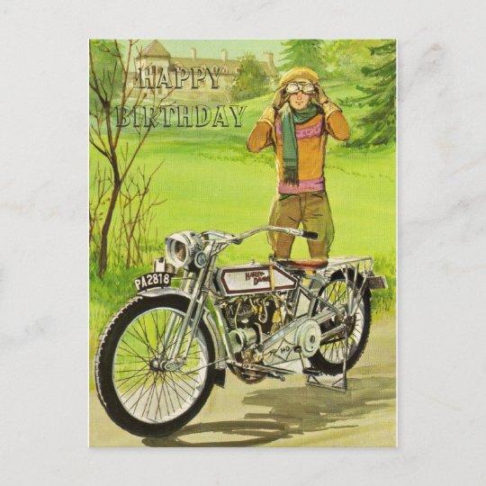 Happy Birthday Motorcycle Postkarte Zazzle De
