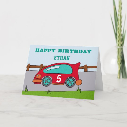 Happy Birthday Racing Car Karte Zazzle De