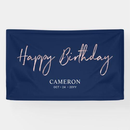 Rose Gold Minimal Custom Happy Birthday Banner Zazzle De