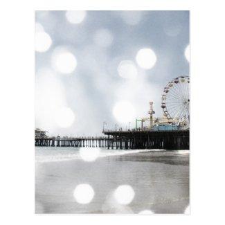 Santa Monica Pier-redigieren graues Glitzern-Foto Postkarte
