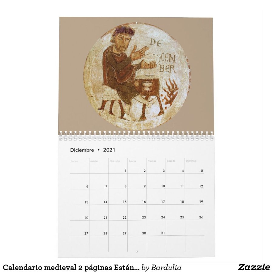 Calendario medieval 2 páginas Estándar