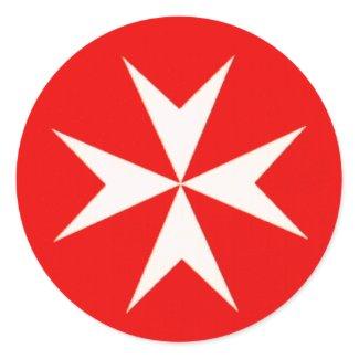 Cruz maltesa etiquetas redondas