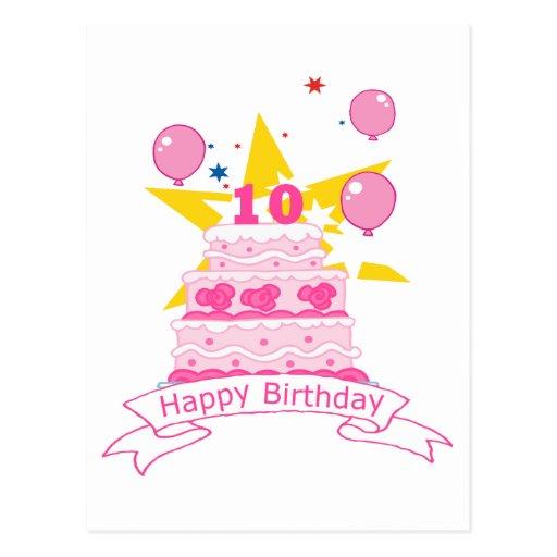 Torta de cumpleaños de 10 años postal
