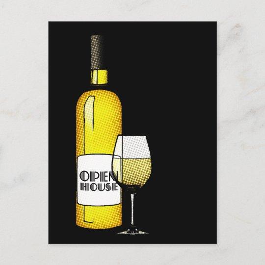 carte postale faire part maison ouverte pendaison de cremaillere vin
