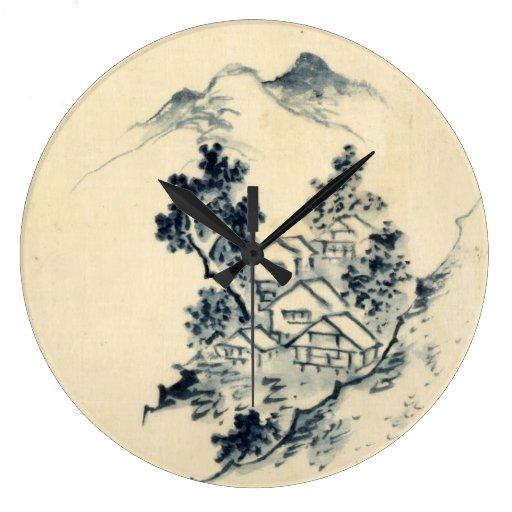Horloge Murale Japonaise De Paysage Zazzle
