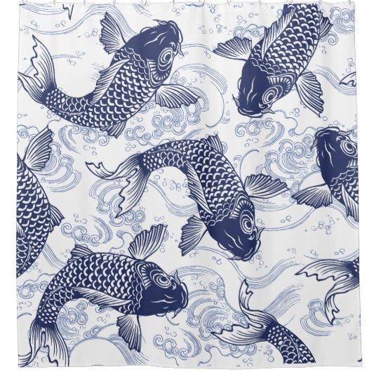 poisson motif japonais dans le rideau de douche d
