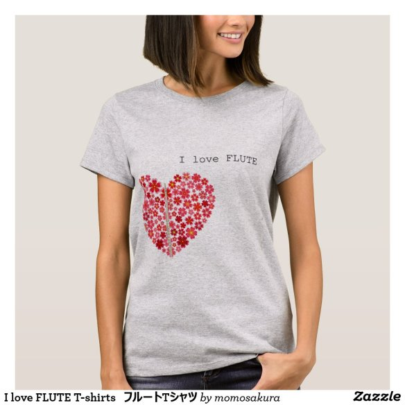 I love FLUTE T-shirts フルートTシャツ Tシャツ