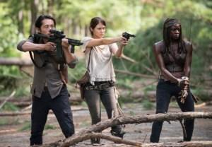 Glenn Rhee (left), Maggie Greene (middle), Michonne (right)