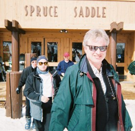 Clyde Becker and Ginger Dodson get ready to hit the slopes after lunch at Spruce Saddle.