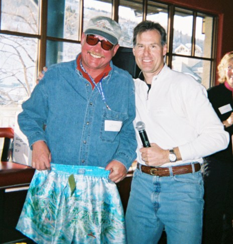 """D. B. Tanner with John Obourn gets """"shorted"""" at the Chop House."""
