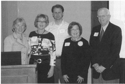Left to right: Laura Wray, Kimberly Foster Garneau, Steve Foster, Janet Foster, and Bob Sellars (Chair of the Norman Foster Scholarship committee) gather to honor the two scholarship recipients who were unable to at tend the luncheon, PhD candidates Thomas Hearon, (CSM) and Joern Hauer (Univ. of Montana). Photo by Ira Pasternack.