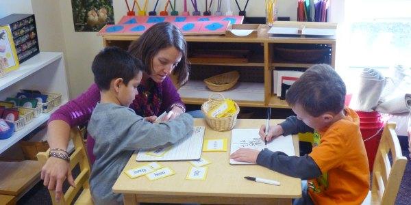 teacher-kids at parker montessori school